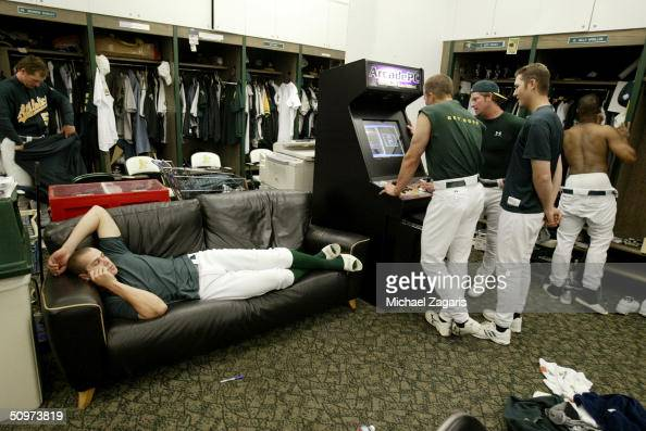 Bobby Crosby of the Oakland Athletics relaxes before the MLB game against the New York Yankees at Network Associates Coliseum on May 5 2004 in...