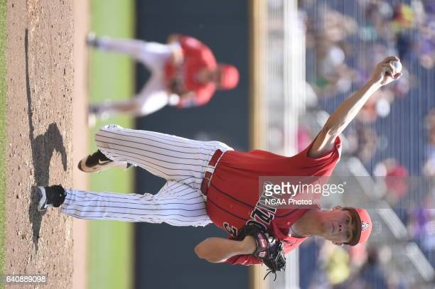 Bobby Dalbec of the University of Arizona delivers a pitch against Coastal Carolina University during Game 3 of the Division I Men's Baseball...