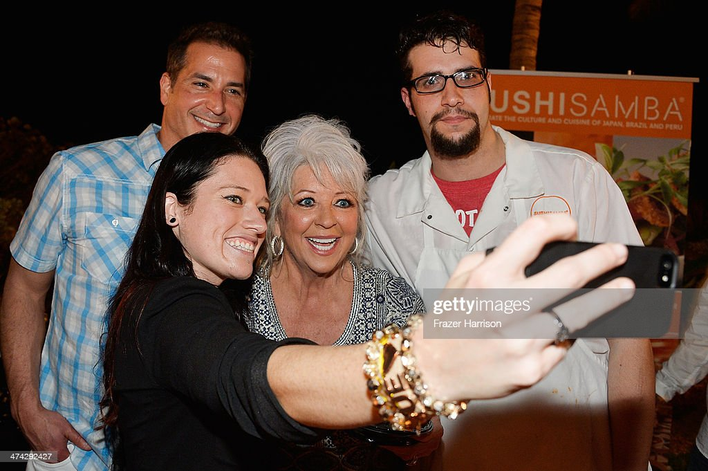 Bobby Deen, Monica Ventura, <a gi-track='captionPersonalityLinkClicked' href=/galleries/search?phrase=Paula+Deen&family=editorial&specificpeople=875895 ng-click='$event.stopPropagation()'>Paula Deen</a>, and Kevin Ortega attend the Thrillist's BBQ & The Blues hosted by Bobby Deen during the Food Network South Beach Wine & Food Festival at Eden Roc Hotel on February 22, 2014 in Miami Beach, Florida.