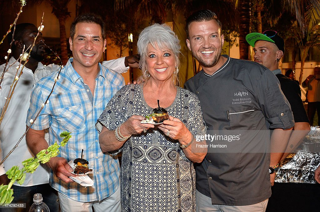 Bobby Deen, <a gi-track='captionPersonalityLinkClicked' href=/galleries/search?phrase=Paula+Deen&family=editorial&specificpeople=875895 ng-click='$event.stopPropagation()'>Paula Deen</a>, and Chef Todd Erickson attend the Thrillist's BBQ & The Blues hosted by Bobby Deen during the Food Network South Beach Wine & Food Festival at Eden Roc Hotel on February 22, 2014 in Miami Beach, Florida.