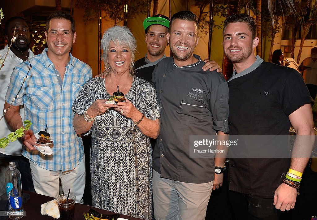 Bobby Deen, <a gi-track='captionPersonalityLinkClicked' href=/galleries/search?phrase=Paula+Deen&family=editorial&specificpeople=875895 ng-click='$event.stopPropagation()'>Paula Deen</a> and chef Todd Erickson of Haven South Beach attend the Thrillist's BBQ & The Blues hosted by Bobby Deen during the Food Network South Beach Wine & Food Festival at Eden Roc Hotel on February 22, 2014 in Miami Beach, Florida.