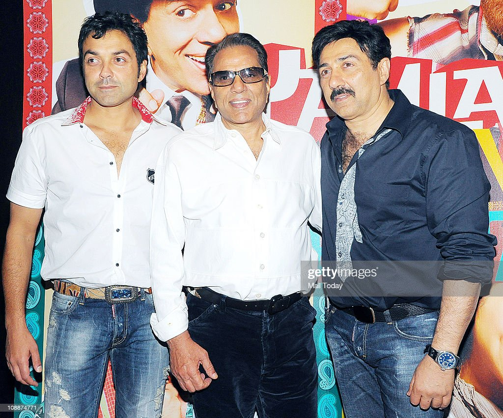 Bobby Deol , Dharmendra and <a gi-track='captionPersonalityLinkClicked' href=/galleries/search?phrase=Sunny+Deol&family=editorial&specificpeople=881473 ng-click='$event.stopPropagation()'>Sunny Deol</a> at the success party of film Yamla Pagla Deewana in Mumbai on Sunday evening.