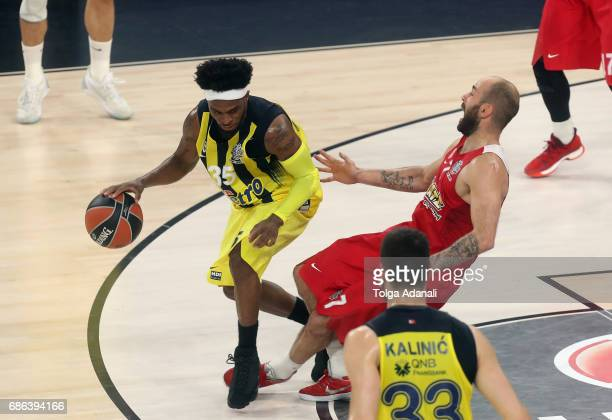 Bobby Dixon #35 of Fenerbahce Istanbul competes with Vassilis Spanoulis #7 of Olympiacos Piraeus during the Championship Game 2017 Turkish Airlines...