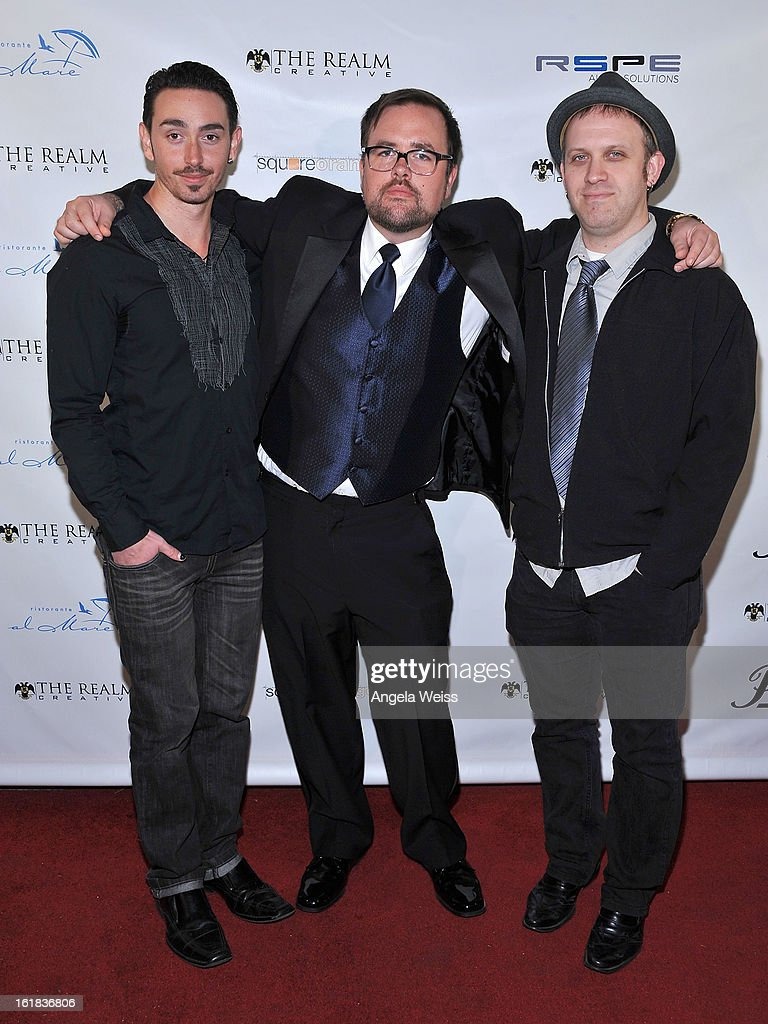Bobby Dub, Lee Miles and Luke Thomas and Jorgeana Marie attend The Realm Creative red carpet premier party on February 16, 2013 in Los Angeles, California.