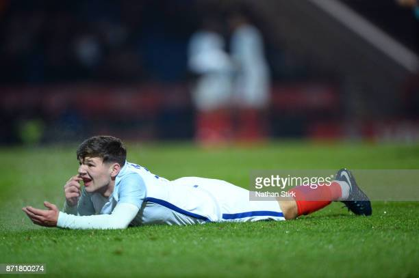 Bobby Duncan of England U17s goes down injured during the International Match between England U17 and Portugal U17 at Proact Stadium on November 8...