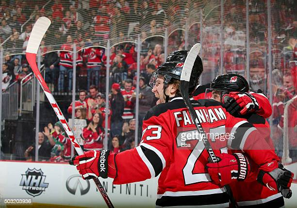 Bobby Farnham of the New Jersey Devils celebrates his goal in the second period against the Dallas Stars on January 22016 at Prudential Center in...