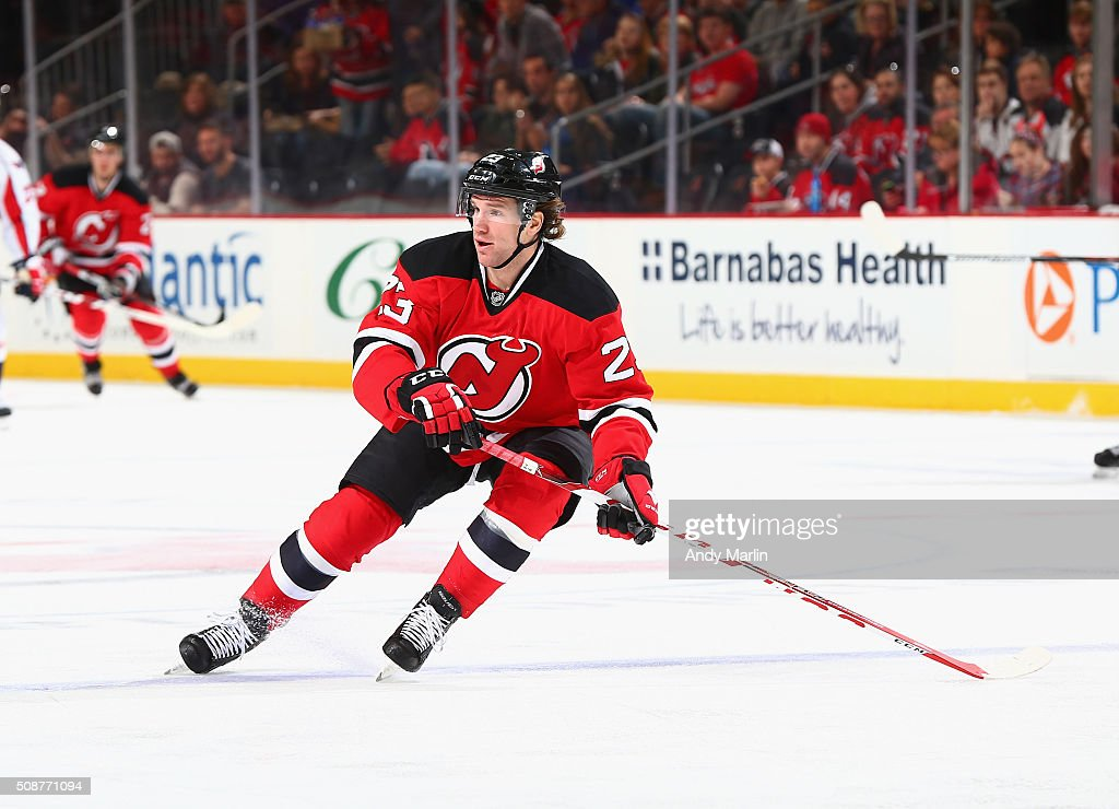 Bobby Farnham #23 of the New Jersey Devils skates in the first-period during the game against the Washington Capitals at the Prudential Center on February 6, 2016 in Newark, New Jersey.