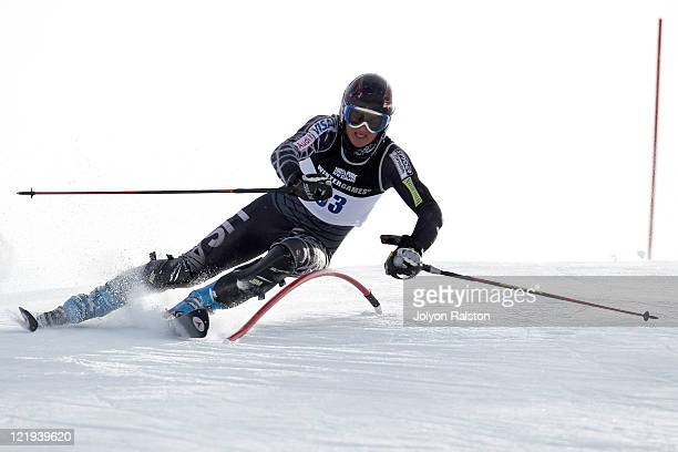 Bobby Farrell of the United States of America competes in the Mens Slalom run one during day 12 of the Winter Games NZ at Coronet Peak on August 24...
