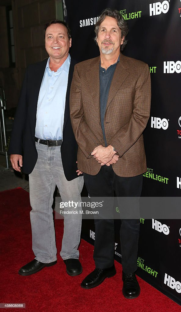 Bobby Farrelly (L) and Peter Farrelly attend HBO Reveals Winner of 'Project Greenlight' Season 4 at BOULEVARD3 on November 7, 2014 in Los Angeles, California.