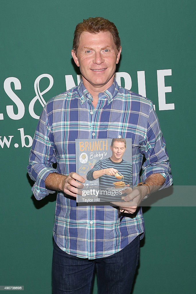 <a gi-track='captionPersonalityLinkClicked' href=/galleries/search?phrase=Bobby+Flay&family=editorial&specificpeople=220554 ng-click='$event.stopPropagation()'>Bobby Flay</a> attends a book signing for 'Brunch at Bobby's: 140 Recipes for the Best Part of the Weekend' at Barnes & Noble Union Square on September 30, 2015 in New York City.