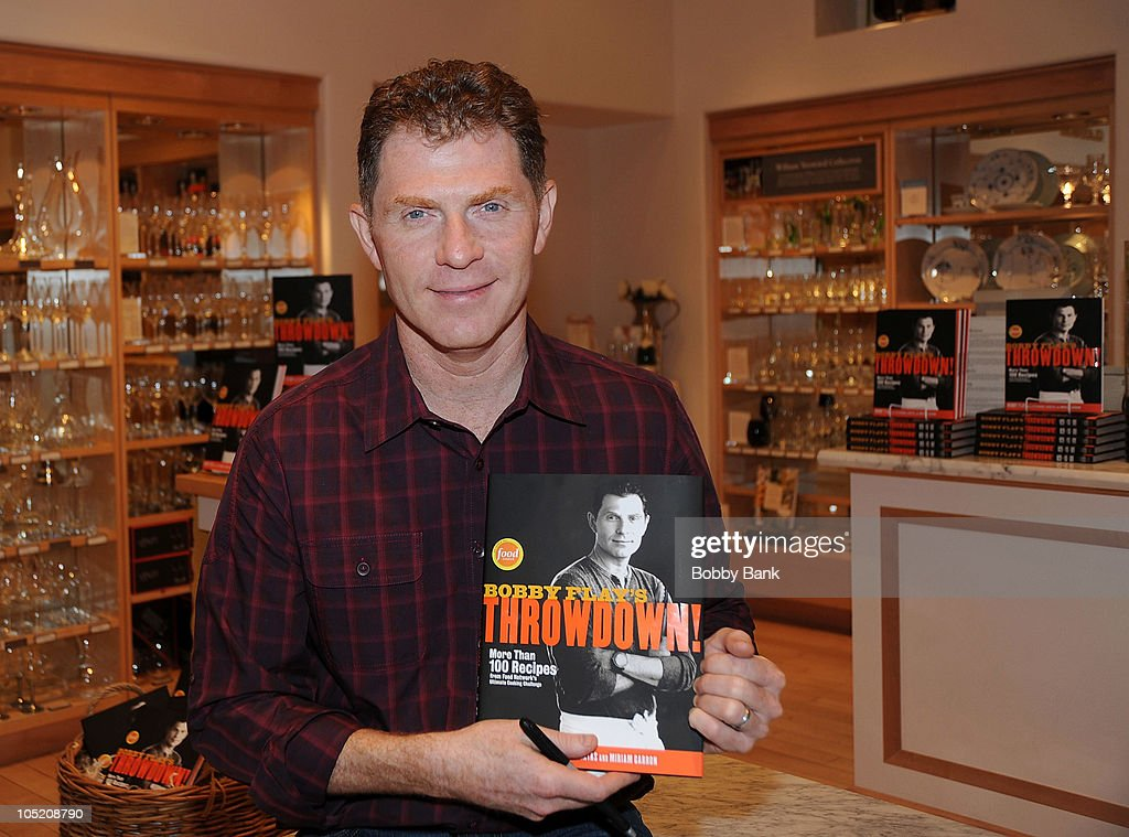<a gi-track='captionPersonalityLinkClicked' href=/galleries/search?phrase=Bobby+Flay&family=editorial&specificpeople=220554 ng-click='$event.stopPropagation()'>Bobby Flay</a> promotes his new recipe book '<a gi-track='captionPersonalityLinkClicked' href=/galleries/search?phrase=Bobby+Flay&family=editorial&specificpeople=220554 ng-click='$event.stopPropagation()'>Bobby Flay</a>'s Throwdown!' at Williams-Sonoma at The Mall, Short Hills on October 12, 2010 in New Jersey.