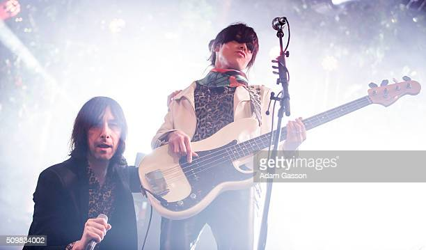 Bobby Gillespie and Simone Butler perform with Primal Scream as they headline the opening day of the BBC 6 Music Festival at Motion on February 12...