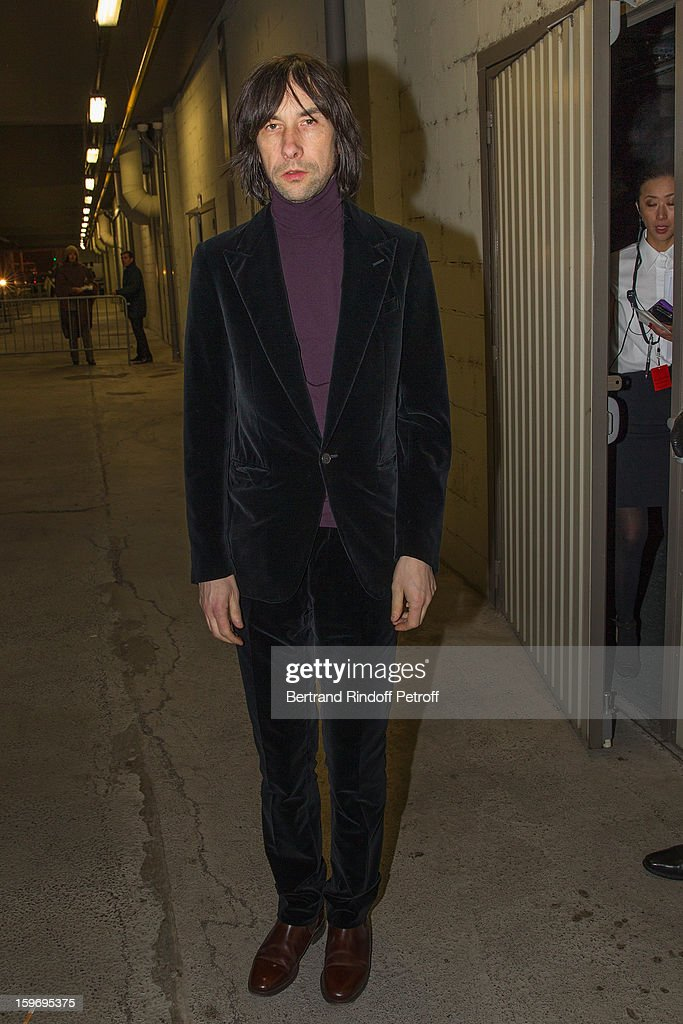 <a gi-track='captionPersonalityLinkClicked' href=/galleries/search?phrase=Bobby+Gillespie&family=editorial&specificpeople=572876 ng-click='$event.stopPropagation()'>Bobby Gillespie</a> attends the Givenchy Men Autumn / Winter 2013 show as part of Paris Fashion Week on January 18, 2013 in Paris, France.