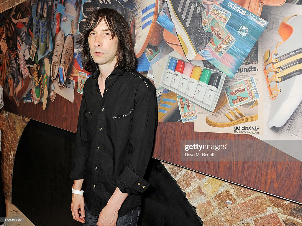 <a gi-track='captionPersonalityLinkClicked' href=/galleries/search?phrase=Bobby+Gillespie&family=editorial&specificpeople=572876 ng-click='$event.stopPropagation()'>Bobby Gillespie</a> attends the launch of the adidas #Spezial exhibtion, showcasing 600 pairs of adidas trainers, at Hoxton Gallery on July 18, 2013 in London, England.