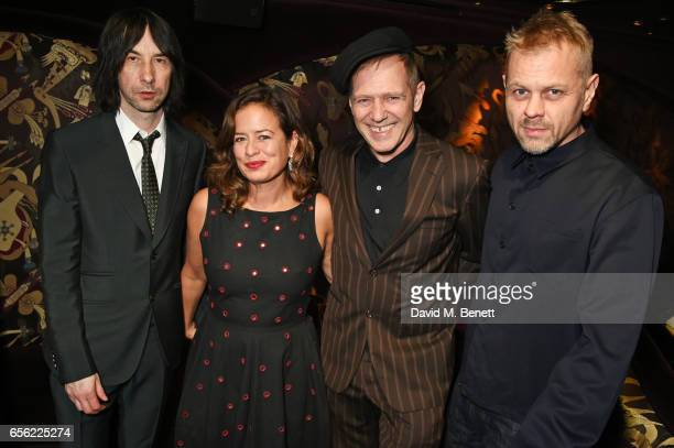 Bobby Gillespie Jade Jagger Paul Simonon and Adrian Fillary attend the Another Man Spring/Summer Issue launch dinner in association with Kronaby at...