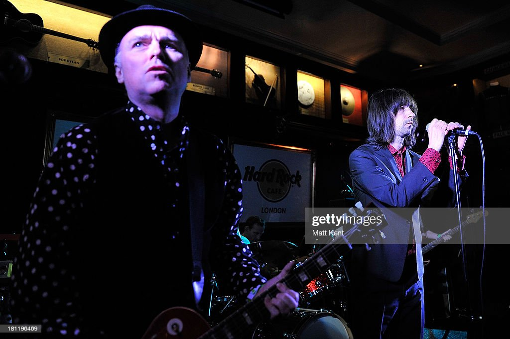 <a gi-track='captionPersonalityLinkClicked' href=/galleries/search?phrase=Bobby+Gillespie&family=editorial&specificpeople=572876 ng-click='$event.stopPropagation()'>Bobby Gillespie</a> (R) of Primal Scream performs as part of the Absolute Radio Sessions at Hard Rock Cafe, Old Park Lane on September 19, 2013 in London, England.