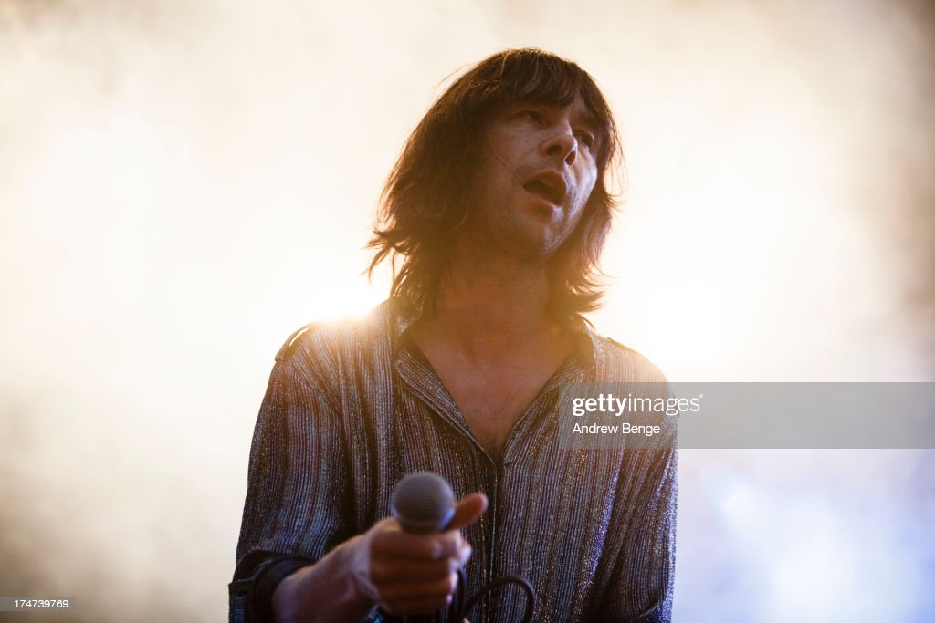<a gi-track='captionPersonalityLinkClicked' href=/galleries/search?phrase=Bobby+Gillespie&family=editorial&specificpeople=572876 ng-click='$event.stopPropagation()'>Bobby Gillespie</a> of Primal Scream performs on stage on Day 3 of Kendal Calling Festival at Lowther Deer Park on July 28, 2013 in Kendal, England.
