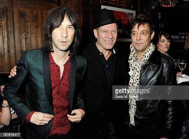 Bobby Gillespie Paul Simonon and Jamie Hince attend #VauxhallPresents Made in England by Katy England screening hosted by Vauxhall Motors at The...