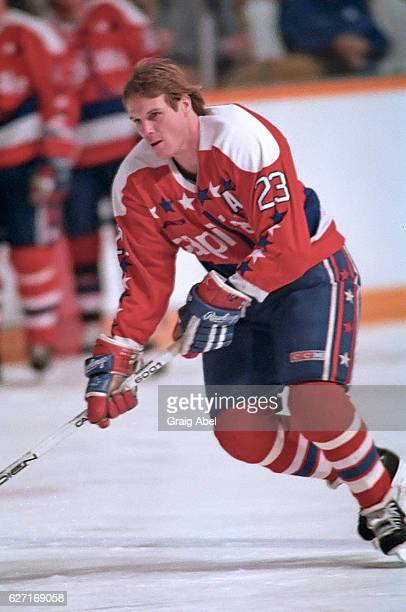 Bobby Gould of the Washington Capitals skates in warmup prior to a game against the Toronto Maple Leafs on October 9 1991 at Maple Leaf Gardens in...