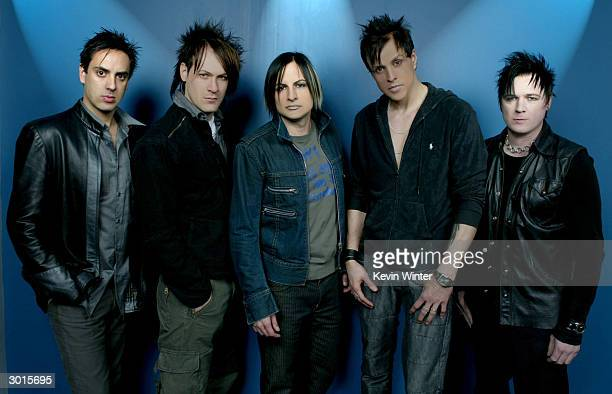 Bobby Hewitt Ryan Shuck Amir Derakh Jay Gordon and Paige Haley of the rock band 'Orgy' during a photo session at NRG Studios on January 27 2004 in...
