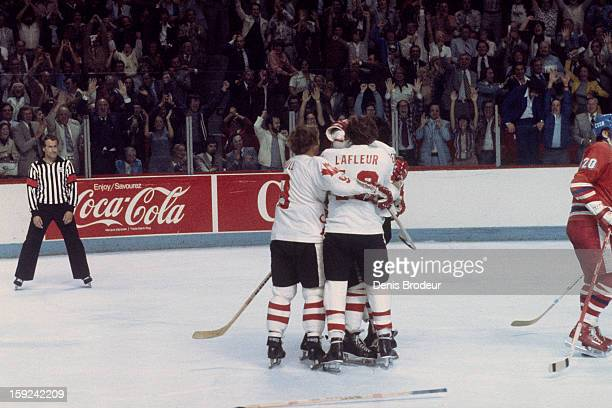 Bobby Hull Guy Lafleur and other members of team Canada celebrate a goal against team Czechoslovakia during the Canada Cup Final held at the Montreal...