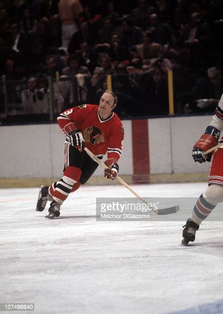 Bobby Hull of the Chicago Blackhawks skates on the ice during an NHL game against the New York Rangers circa 1971 at the Madison Square Garden in New...