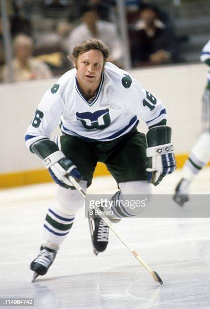 Bobby Hull of the Hartford Whalers skates on the ice during an NHL game in April 1980 at the Springfield Civic Center in Hartford Connecticut