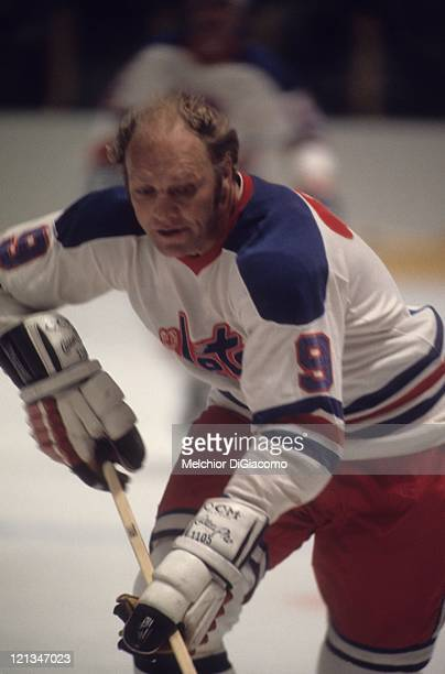Bobby Hull of the Winnipeg Jets skates on the ice during an NHL game circa 1979 at the Winnipeg Arena in Winnipeg Manitoba