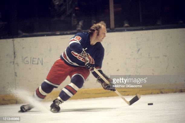 Bobby Hull of the Winnipeg Jets skates with the puck during an WHA game circa 1977
