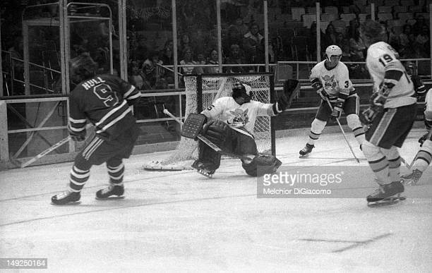 Bobby Hull of the Winnipeg Jets takes the shot during the game against the Minnesota Fighting Saints on January 28 1975 at the St Paul Civic Center...
