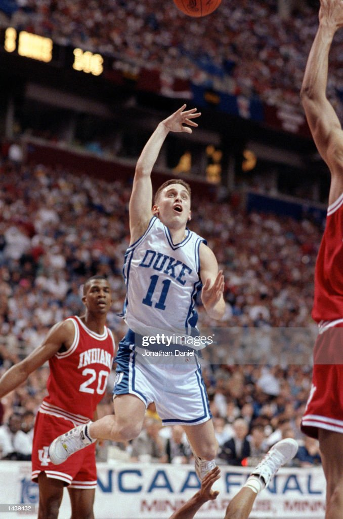 Bobby Hurley #11 of the Duke Hoops goes for a layup during their game against the Indiana Hoosiers at the Hubert H. Humphrey Metrodome in Minneapolis, Minnesota on April 4, 1992. Duke defeated Indiana 81-78.