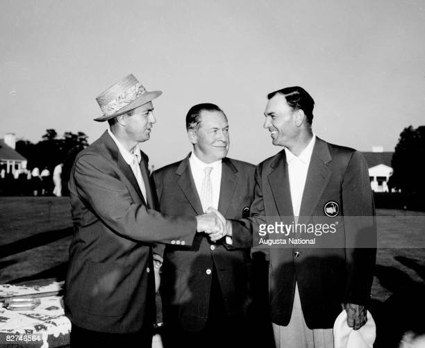 Bobby Jones and Ben Hogan congratulate Sam Snead for his victory at the Presentation Ceremony during the 1954 Masters Tournament at Augusta National...