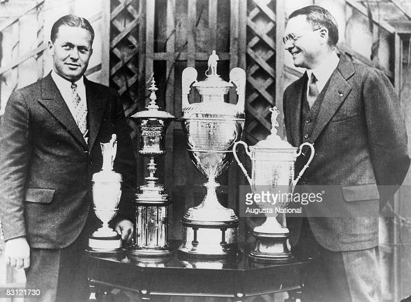 Bobby Jones and OB Keeler are seen here with Jones' 1930 grand slam trophies the British Open the US Amateur the British Amateur and the US Open