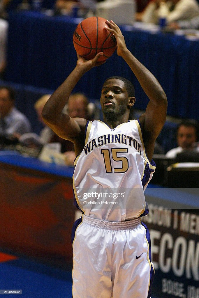 Bobby Jones of the Washington Huskies puts up a shot against the Pacific Tigers during the 2005 NCAA division 1 men's basketball championship...