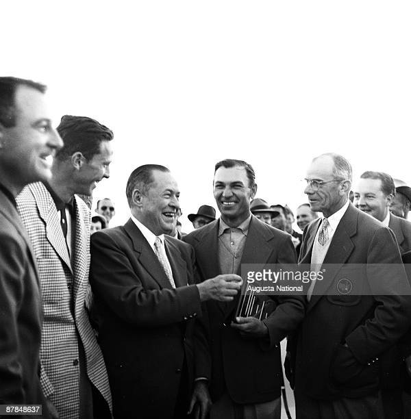 Bobby Jones shares a laugh with Winner Ben Hogan and Clifford Roberts at the Presentation Ceremony after the 1951 Masters Tournament at Augusta...
