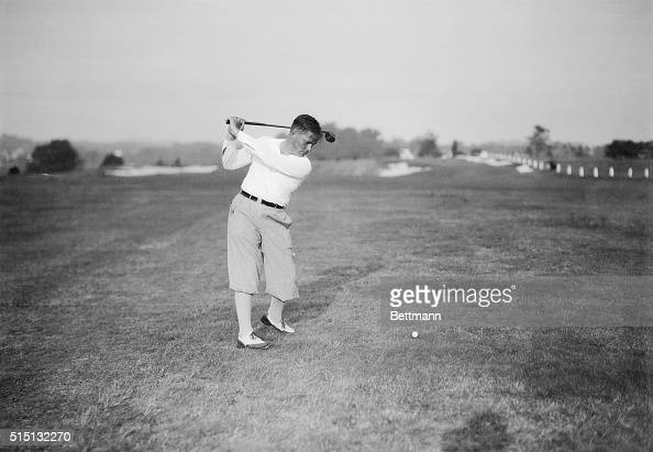 Bobby Jones teeing off during a round of play in the National Amateur Golf Championship tourney at Merion Cricket Club in Ardmore Pennsylvania