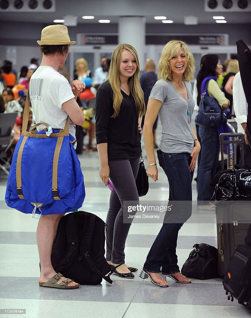 Bobby Kennedy III Tiffany Trump and her mother Marla Maples seen leaving JFK Airport on July 21 2009 in New York City