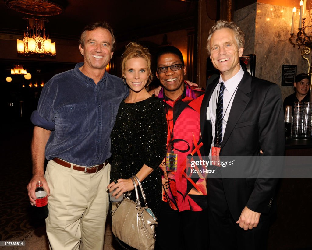 Bobby Kennedy Jr Cheryl Hines Herbie Hancock and John Sykes backstage during STING 25th Anniversary/60th Birthday Concert to Benefit Robin Hood...