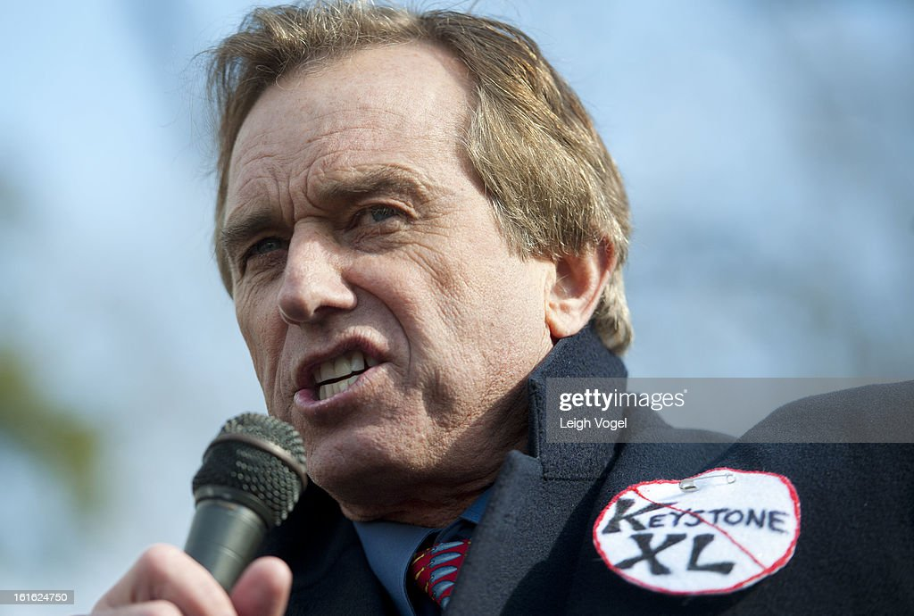 Bobby Kennedy Jr. protests against Keystone XL Pipeline at Lafayette Park on February 13, 2013 in Washington, DC.