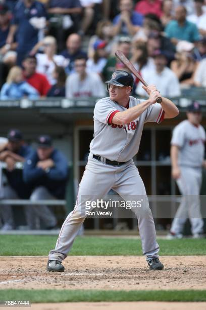 Bobby Kielty of the Boston Red Sox bats during the game against the Chicago White Sox at US Cellular Field in Chicago Illinois on August 25 2007 The...