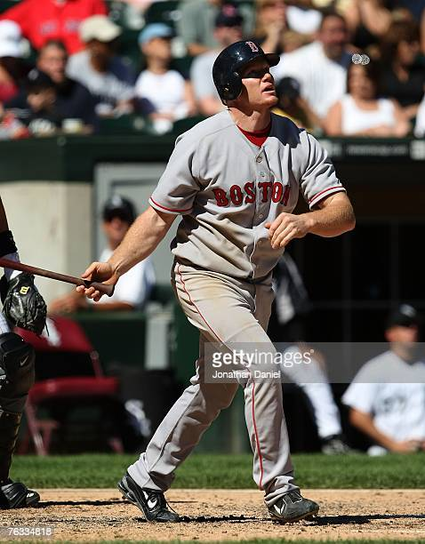Bobby Kielty of the Boston Red Sox hits a tworun home run in the 6th inning against the Chicago White Sox on August 26 2007 at US Cellular Field in...
