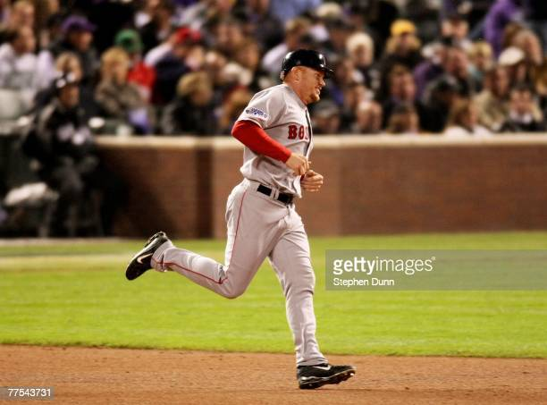 Bobby Kielty of the Boston Red Sox runs out a solo home run in the eighth inning against the Colorado Rockies during Game Four of the 2007 Major...