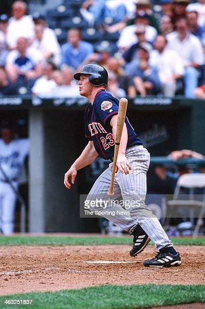 Bobby Kielty of the Minnesota Twins bats during the game against the Kansas City Royals on May 16 2002 at Kauffman Stadium in Kansas City Missouri