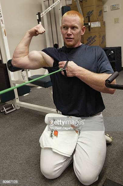 Bobby Kielty of the Oakland Athletics flexes his muscle in the weight room prior to the MLB game against the New York Yankees at Network Associates...