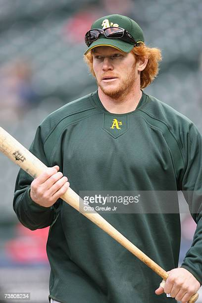 Bobby Kielty of the Oakland Athletics looks on during batting practice before the game against the Seattle Mariners on April 3 2007 at Safeco Field...