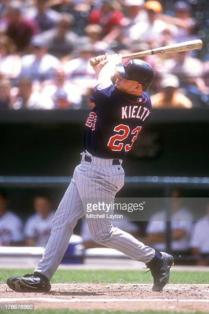 Bobby Kiely of the Minnesota Twins takes a swing during a baseball game against the Baltimore Orioles on August 8 2002 at Camden Yards in Baltimore...