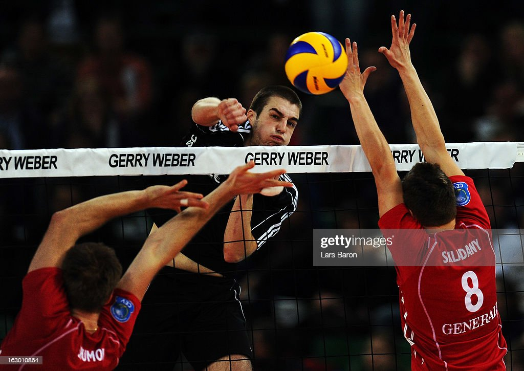 Bobby Kooy of Moers hits the ball during the DVV Cup Final match between Moerser SC and Generali Haching at Gerry Weber Stadion on March 3, 2013 in Halle, Germany.