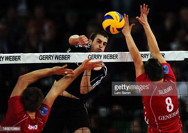 Bobby Kooy of Moers hits the ball during the DVV Cup Final match between Moerser SC and Generali Haching at Gerry Weber Stadion on March 3 2013 in...