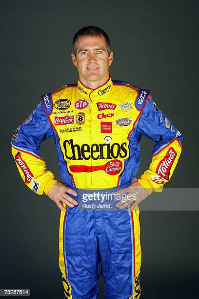 Bobby Labonte driver of the Cheerios/Betty Crocker Dodge poses during the NASCAR media day at Daytona International Speedway on February 8 2007 in...