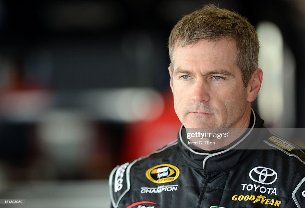 <a gi-track='captionPersonalityLinkClicked' href=/galleries/search?phrase=Bobby+Labonte&family=editorial&specificpeople=203201 ng-click='$event.stopPropagation()'>Bobby Labonte</a>, driver of the #47 Kroger Toyota, during practice for the NASCAR Sprint Cup Series Daytona 500 at Daytona International Speedway on February 16, 2013 in Daytona Beach, Florida